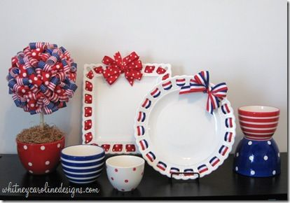Polka Dots & Ribbon Topiary How-To(love the plates, too)
