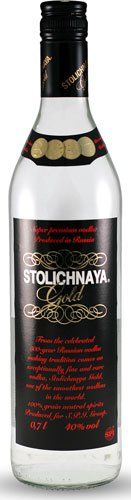 Stolichnaya Gold Premium Russian Vodka  Stolichnaya Gold is meant to replace the Stolichnaya Cristall and designed for ultimate smoothness.  The 2012 Wine Enthusiast review recommended chilled and paired with salmon (which should please the traditional Russian enthusiasts who serve frozen with caviar).