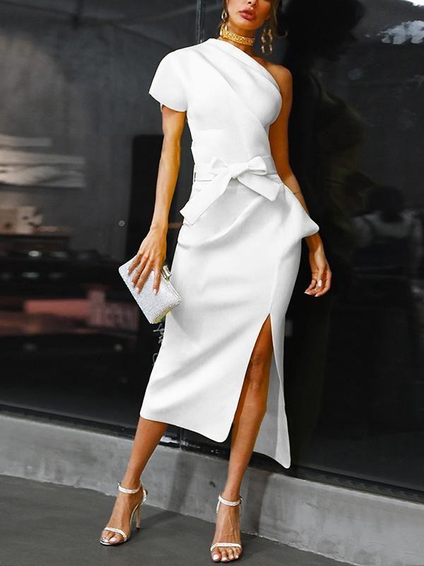 Fashion Solid Color Evening Dresses