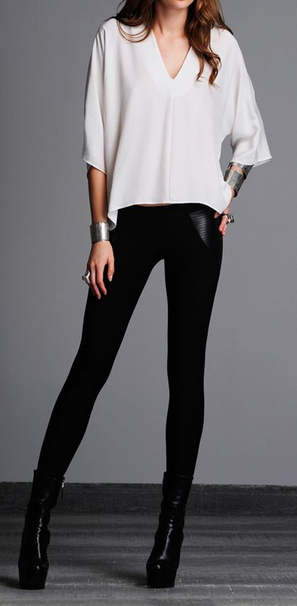 Black and white cool- I can go straight to my closet and duplicate this same look, yea or too much stuff!