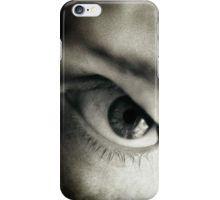 Closeup of eye of man black and white sepia tone 35mm silver gelatin analog portrait macro photograph iPhone Case/Skin