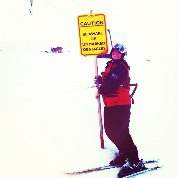 Ski patrollers LOVE signs.