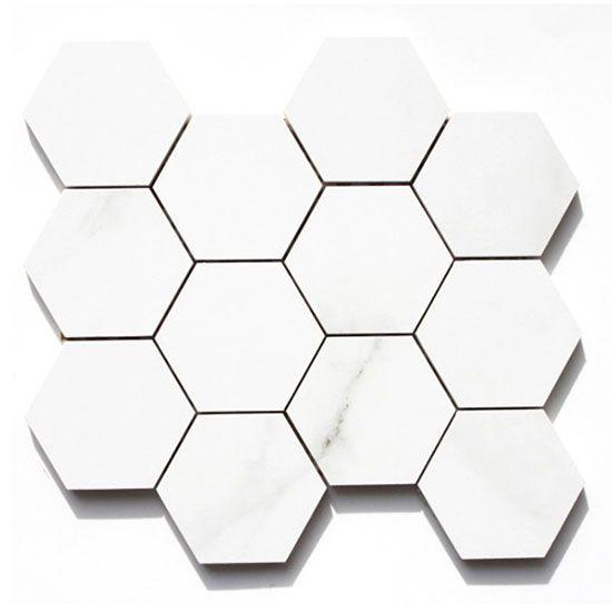 Carrara Hexagonal in satin, gloss, or mix, in white. 262mm x 302mm
