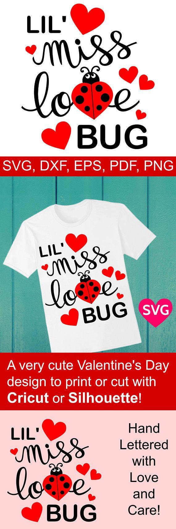 Adorable SVG file for Valentine's Day, Little Miss Love Bug