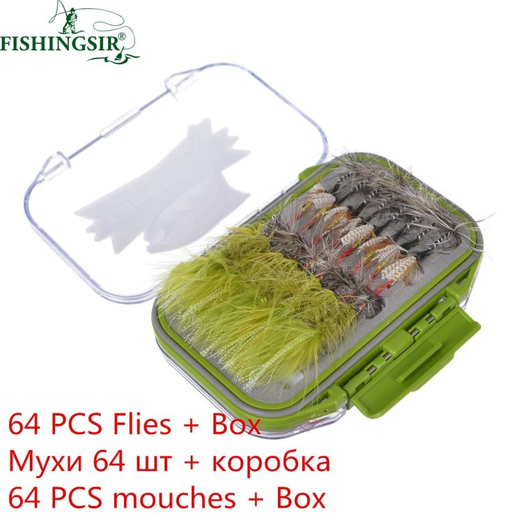 64/120PCS Fly Tying Material Fly Fishing Lure Dry/Wet Flies, Nymph