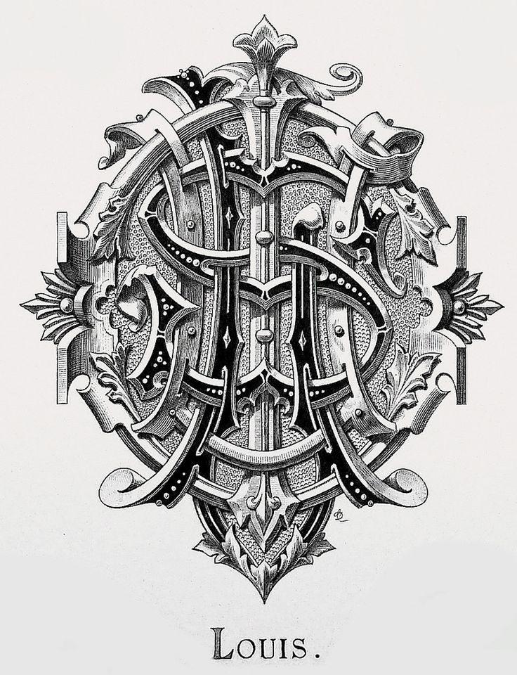 """Monogram """"Louis"""" by Charles Demengeot - 1877"""