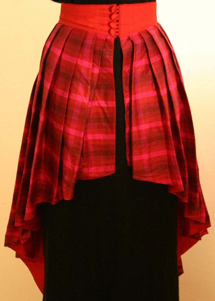 Steampunk Silk Plaid Skirt, Goth Punk Celtic Hi Low Skirt, Vintage Layered Silk Skirt, Vintage Tartan Silk Skirt, Steam Punk Over Lay Skirt by HippieGypsyBoutique on Etsy