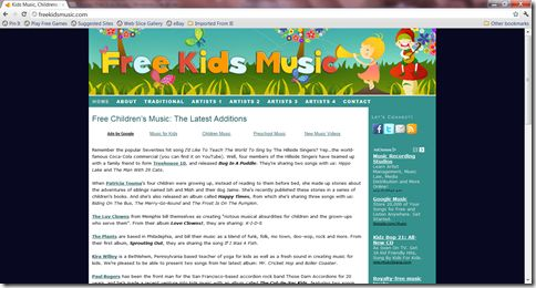 Free Kids' Music Site