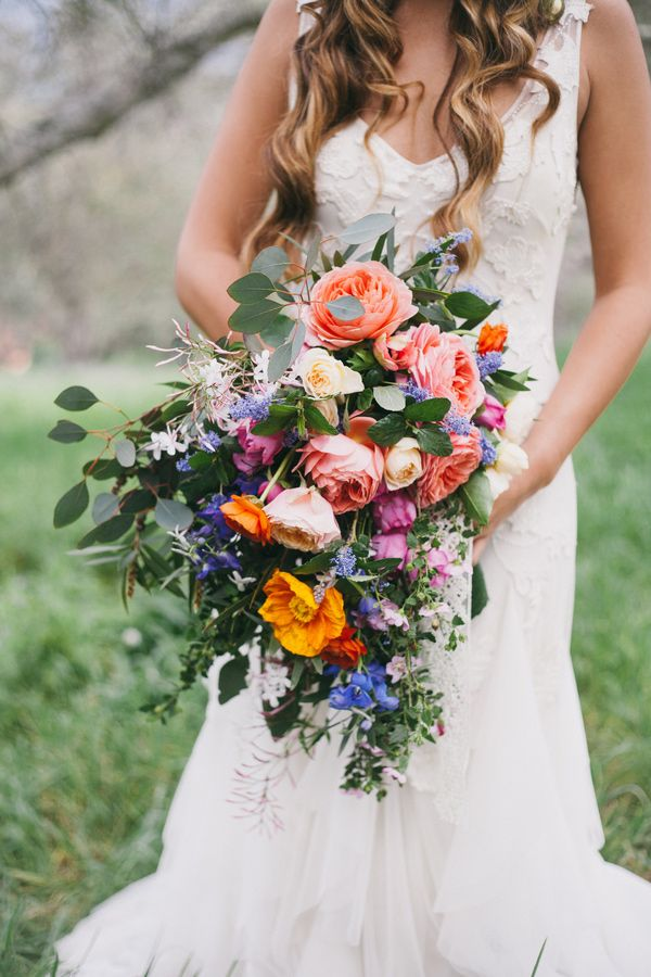 colorful unique bouquet - photo by Alexandra Wallace http://ruffledblog.com/bohemian-garden-wedding-with-color
