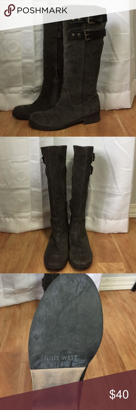 "Nine West Tumble Leather Boots Beautiful grey leather upper boots with buckles. Very minimal wear. Approx 1"" heel. Nine West Shoes Over the Knee Boots"