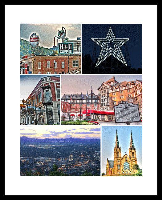 Roanoke VA  Virginia- Dr Pepper H&C Coffee -Mill Mountain Star -Roanoke Syline-Farmers Market-Hotel Roanoke-St Andrews Church -by Dave Lynch by ArtGalleryRiverRd on Etsy