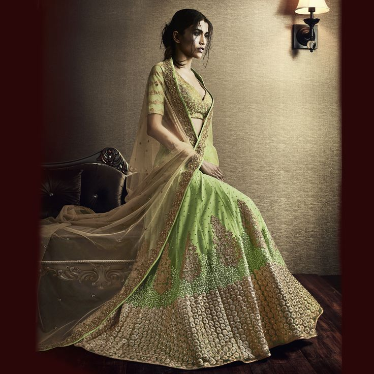 Buy now Net Fabric Heavy Embroidery Designer Bridal Lehenga Saree in Light Green Color. Shop Now :- https://goo.gl/iMB6bo