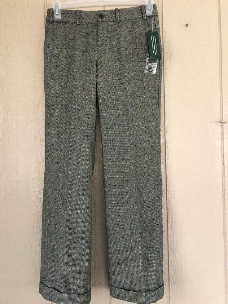 Nwt Ralph Lauren Women's Petite Trousers Sanderson Classic Fit Cuffed Lined 2P #LaurenRalphLauren #DressPants