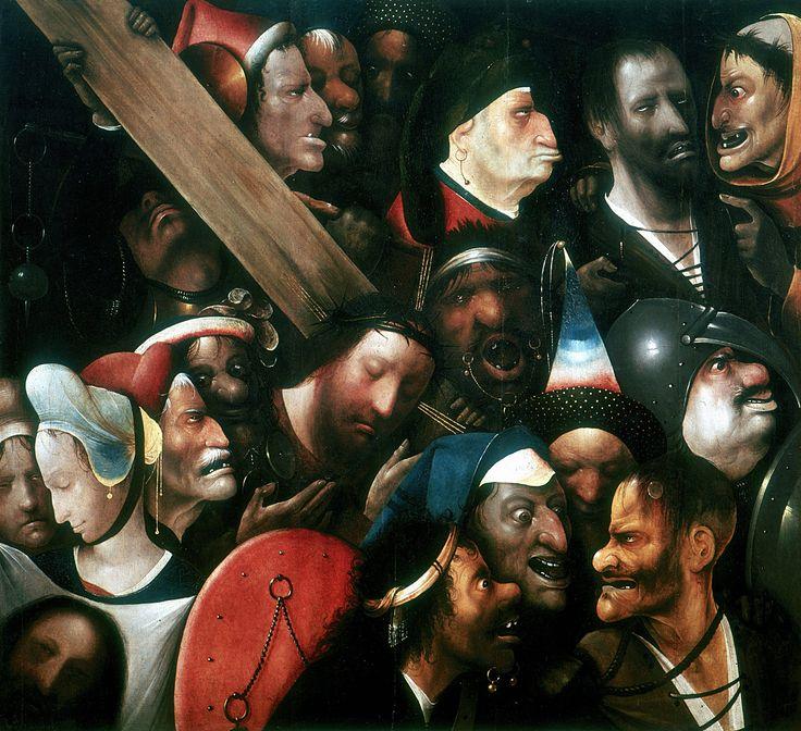 """""""Die Kreuztragung"""", zwischen 1510 und 1516: Das Bild zeigt Jesus Christus auf dem Weg zur Kreuzigung, umgeben von Peinigern und Schaulustigen. Eindrucksvoll ist die Komposition der Szene. Nur zwei Gesichter sind nicht zu Fratzen verzerrt: Jenes von Jesus und jenes der einzigen weiblichen Figur, der heiligen Veronika."""