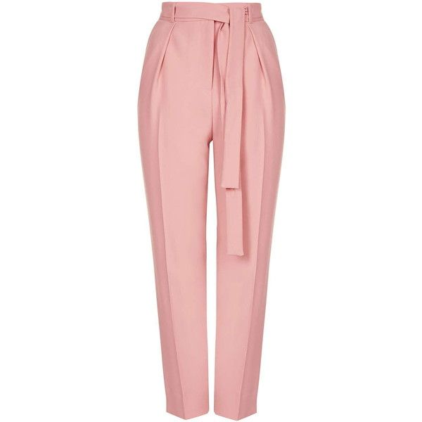 TOPSHOP Belted Crepe Peg Trousers found on Polyvore featuring pants, capris, bottoms, trousers, jeans, pink, tailored pants, lined pants, pink pants and topshop