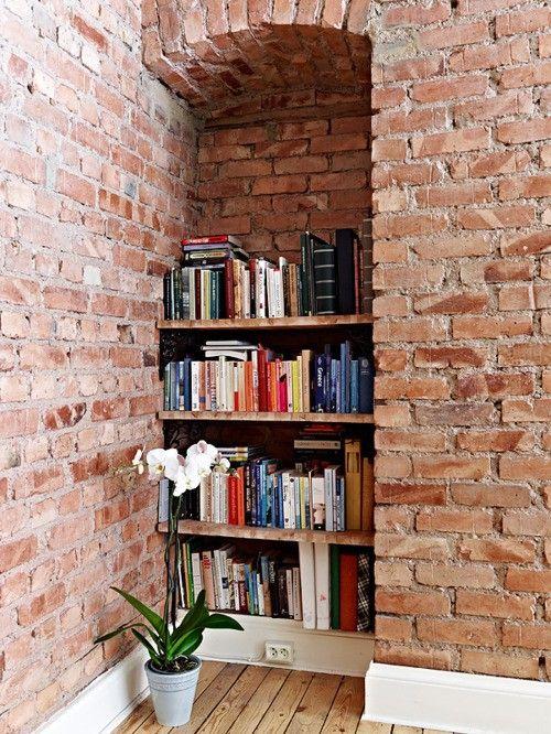 Exposed brick book nook. Yes, please.Exposed Bricks, Bookshelves, Home Libraries, Bricks Wall, Book Nooks, Bookcas, Book Shelves, House, Expo Bricks