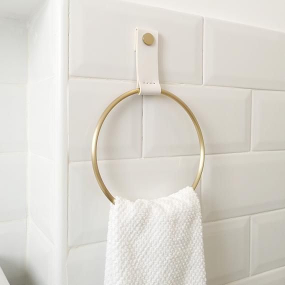 Towel Holder Towel Ring Leather And Brass Ring Towel Etsy