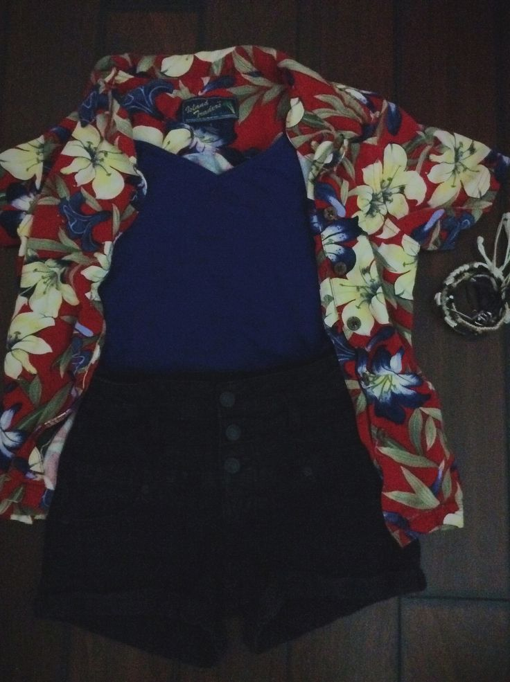 Hawaiian themed outfit.