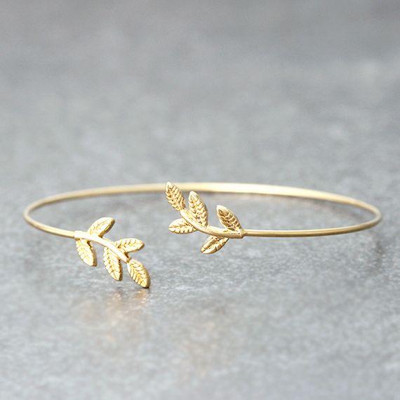 Gold Baby Leaf Cuff Bracelet from kellinsilver.com