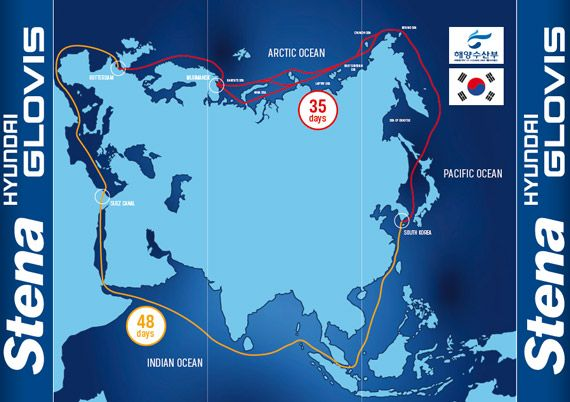 The Northern Sea Route connects Europe with East Asia via the Barents Sea, the Kara Sea, the Laptev Sea, the East Siberian Sea, the Bering Sea and the Sea of Okhotsk. This route reduces the voyage with approximately 10 days compared with the traditional route via The Suez Canal, India and the Strait of Malacca.