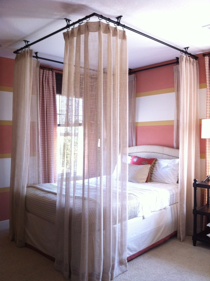 Exceptional Ceiling Hung Curtains Around Bed