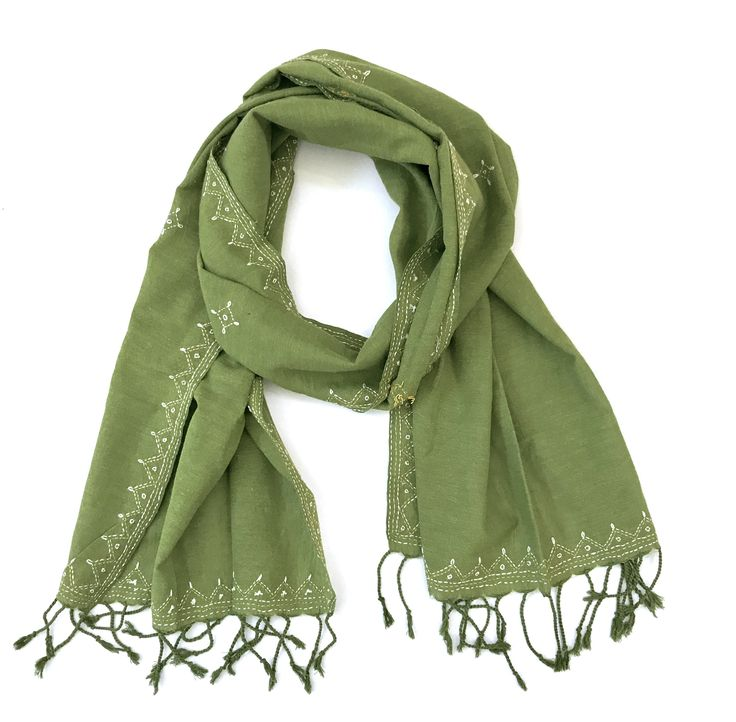 Green Cotton Two Toned Tanka Hand Embroidered Scarf