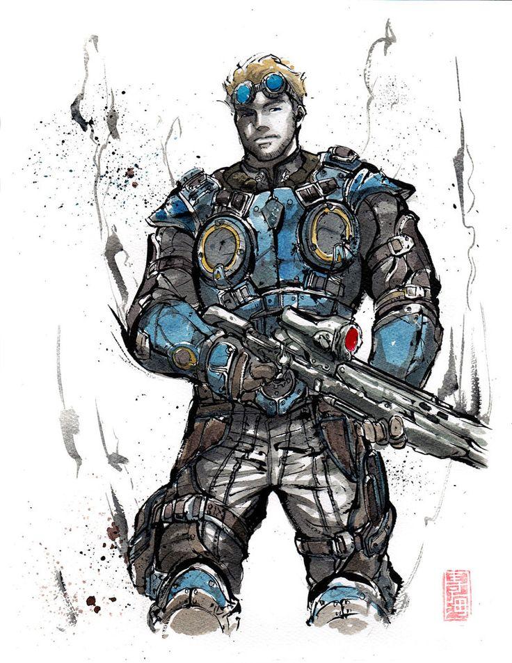 Damon Baird from Gears of War Sumie style by ~MyCKs on deviantART