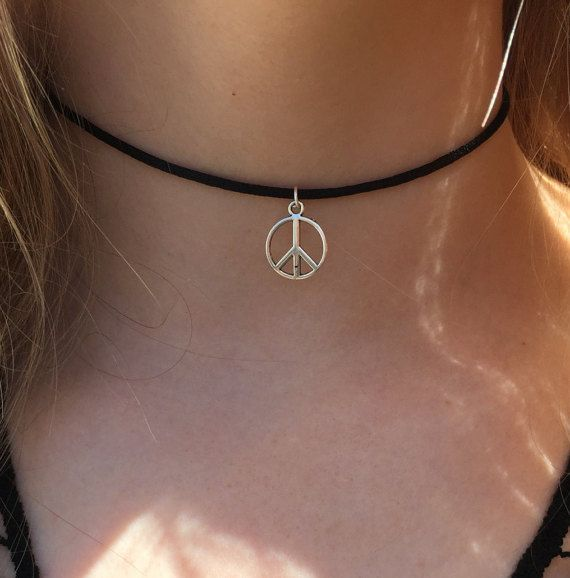 Peace Choker Necklace  90s Black Cord Choker with Silver Peace Sign Charm