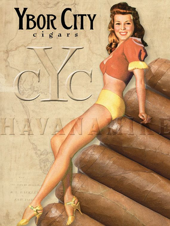 YBOR CITY Cigar Co. Pinup Poster Print by CarlsonBrands on Etsy, $19.95