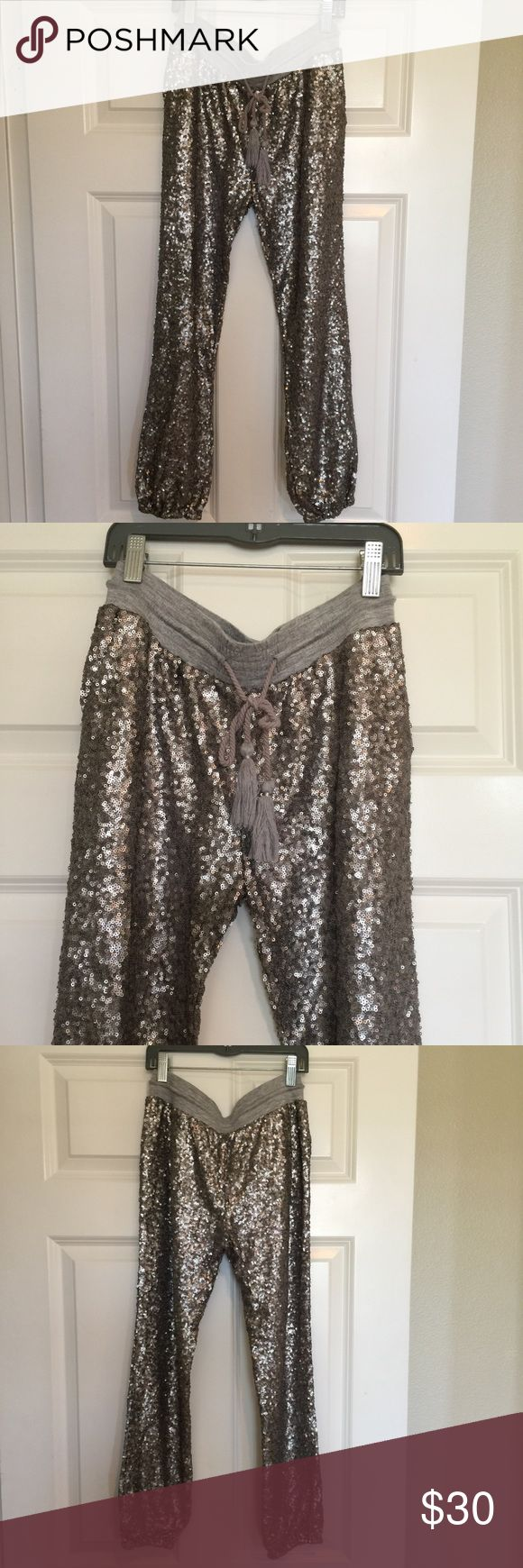 Grey sequin jogger pants These bad boys are super comfy, fun jogger pants! All throughout grey, no sequins have fallen off. In very great condition! Amuse Society Pants Track Pants & Joggers