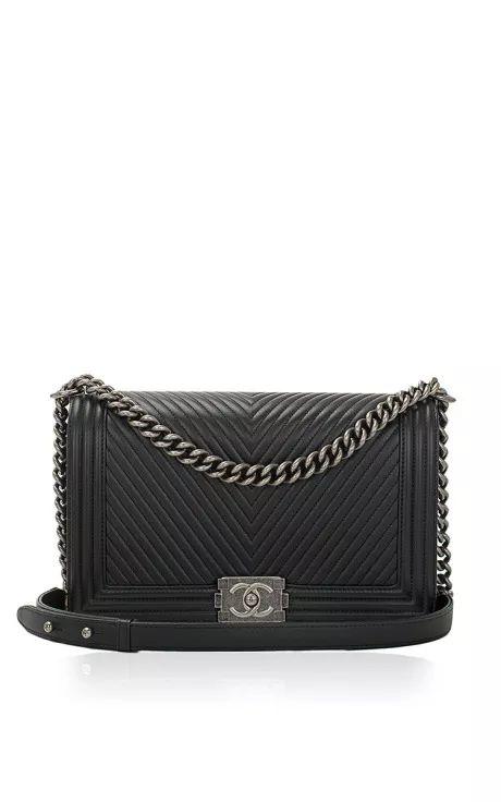 Chanel Black Herringbone Chevron Calfskin Large Boy Bag by Madison Avenue Couture for Preorder on Moda Operandi