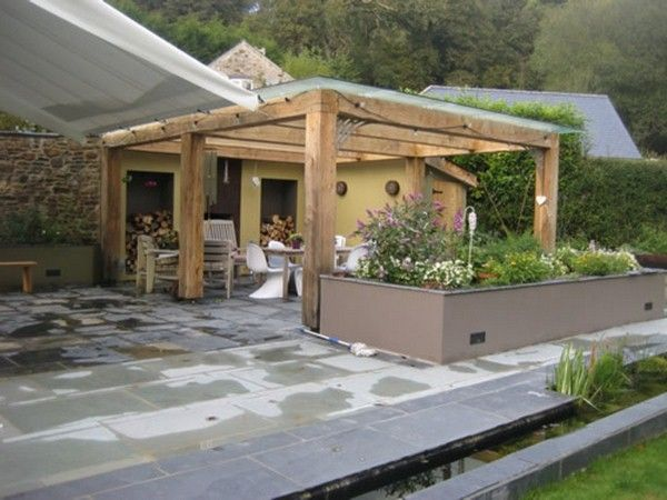 Green Oak Stainless Steel Contemporary Glass Roof Roofed