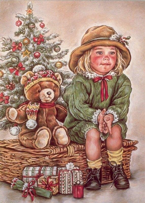 Старинные открытки с детками зимой