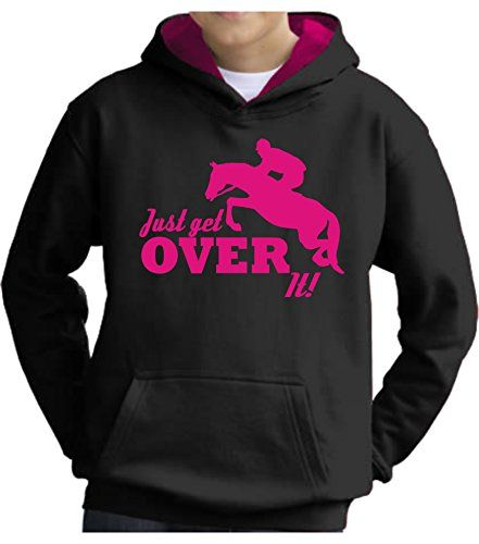 TWO TONE Jet Black/Hot Pink Hoodie 'JUST GET OVER IT' with Hot Pink Print.