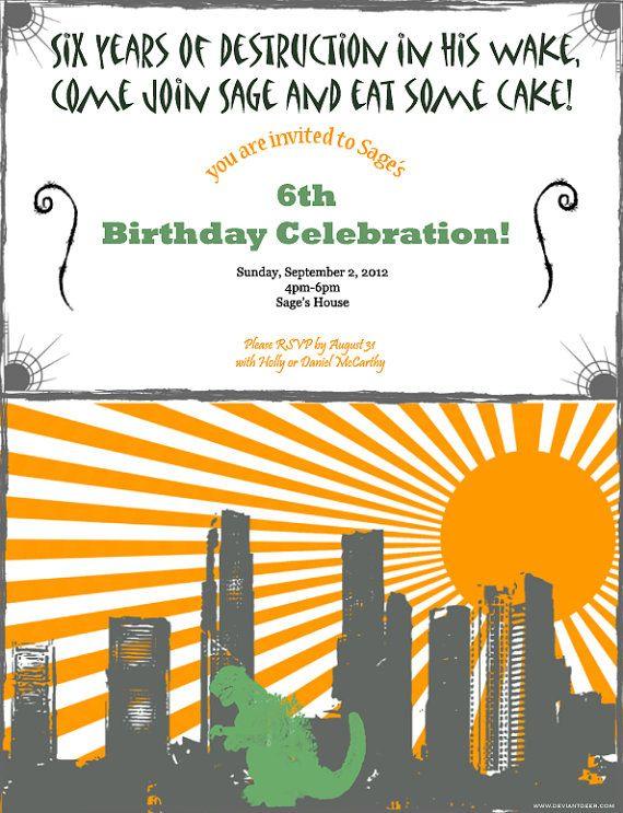 Godzilla, Dragon, Dinosaur Birthday Party Invitation- Digital 5x7 PDF (printable)  $10.00