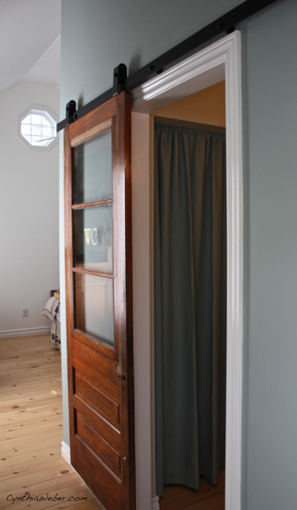 Rustica Hardware Top Mount Modern Industrial Barn Door Track System used in Client Diaries- Jess & Brad from CynthiaWeber.com