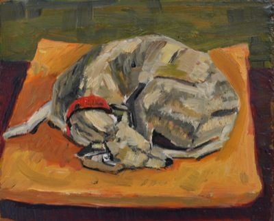 Rodgerson,Jenny Whippet on Gold Cushion Oil on board Image Size: 14 x 17cm