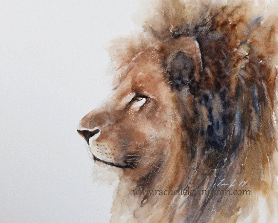 for him lion painting of lion watercolor painting african wall hanging african wall art room decor lion of PRINT art nursery artwork 11x14