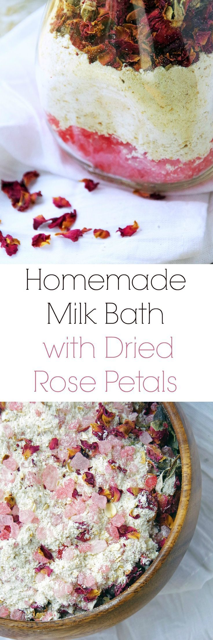 Homemade Milk Bath Recipe with Dried Red Rose Petals