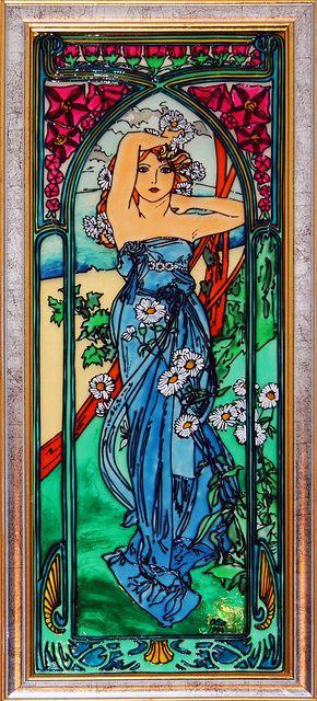 Alphonse Mucha - Le Jour (Daytime) by ColoredGlassByOlia, via Flickr