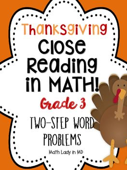 3rd grade Thanksgiving Two Step Word Problems... by Math Lady in MD | Teachers Pay Teachers