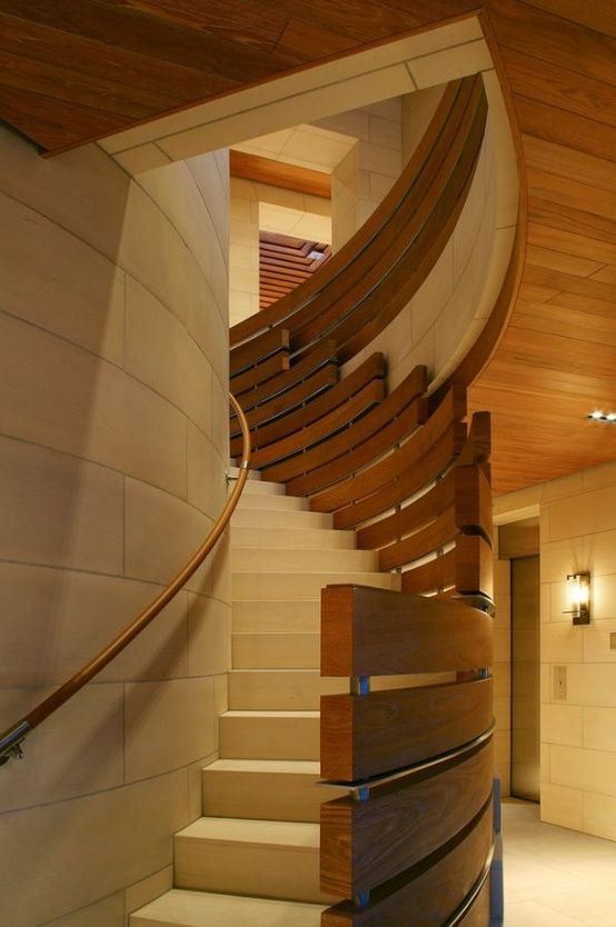 Curved Timber Balustrade Staircase By BAR Architects