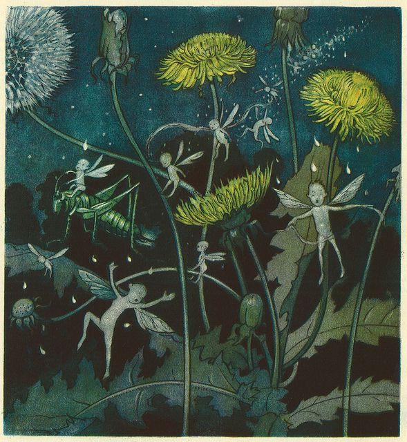 """""""Der Heuschreck und die Blumen"""" (The Grasshopper and the Flowers"""" (Zwölf Märchen von) by  Max Dingler; Bilder von (Illustrated by) Else Wenz-Vietor, 1924"""