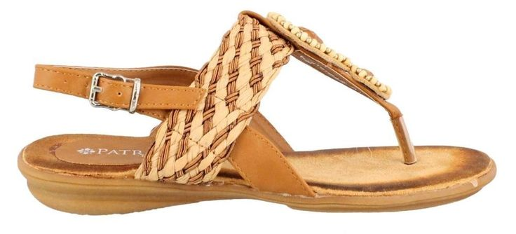 Patrizia Parisienne Women's Camel Sandal 39 M EU. Women's Patrizia, Parisienne thong Sandals. Manmade upper with bead and rhinestone details for added appeal. Ankle strap with adjustable buckle closure for a secure fit. Smooth manmade lining. Cushioned footbed for added comfort.