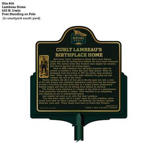Packers Heritage Trail Site #16:  Lambeau Home (Curly Lambeau's Birthplace Home), 615 North Irwin. #nfl #packers #vintage