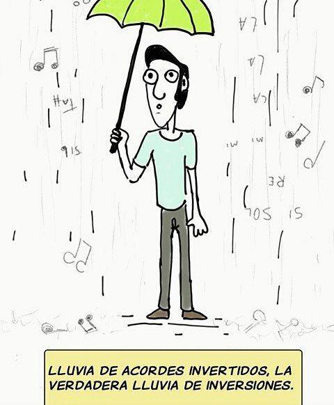 Lluvia de acordes.  Por @jerryferela  #pelaeldiente #feliz #comic #caricatura #viñeta #graphicdesign #fun #art #ilustracion #dibujo #humor #amor #creatividad #drawing #diseño #doodle #cartoon