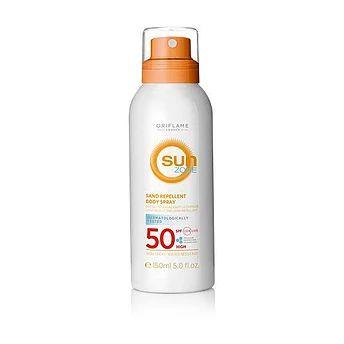 Sun Zone Kuma Karşı Koruyucu SPF 50 Yüksek Korumalı Vücut Spreyi Ürün kodu: 32280 Kuma ve suya karşı dayanıklı, kullanımı rahat, hafif vücut spreyi. Cilt tarafından kolay emilir. Hücresel Koruma Teknolojisi sayesinde UVA/UVB ışınlarına, güneşin zararlarına ve serbest radikallere karşı koruma sağlar. SPF 50 korumalıdır. Dermatolojik olarak test edilmiştir.