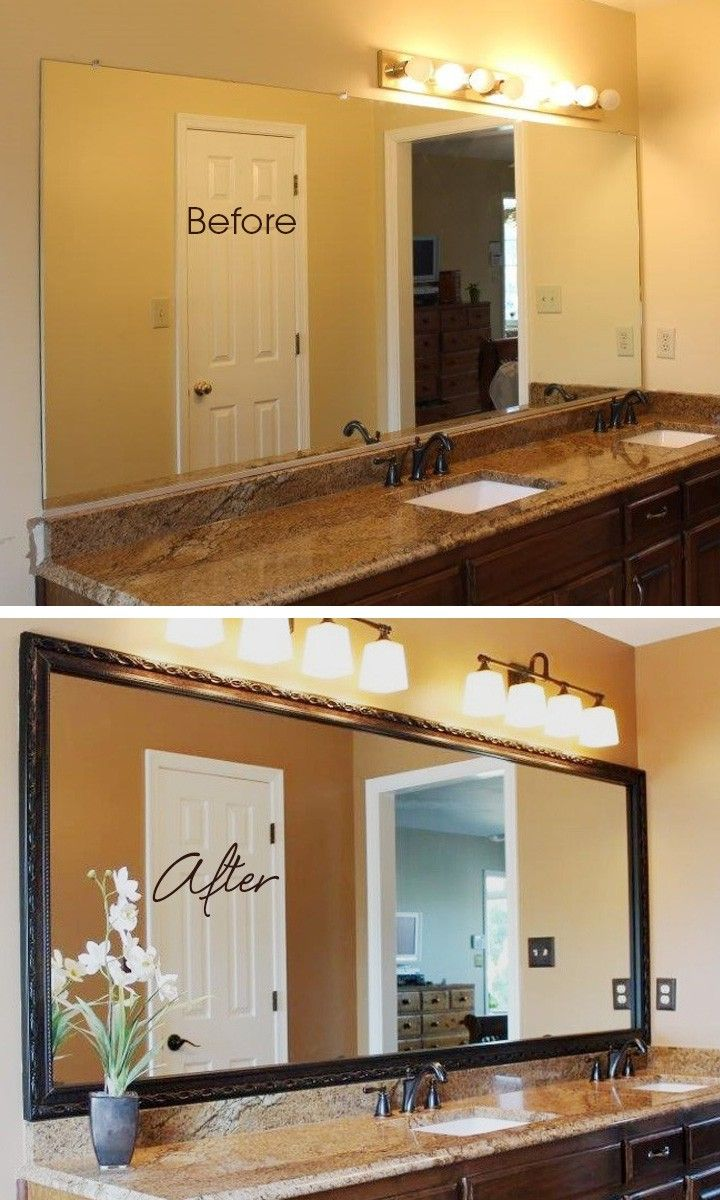 Great customer makeover using a DIY MirrorMate frame kit in the Acadia style to frame that oversized sheet mirror in the bathroom. What a difference a frame can make!
