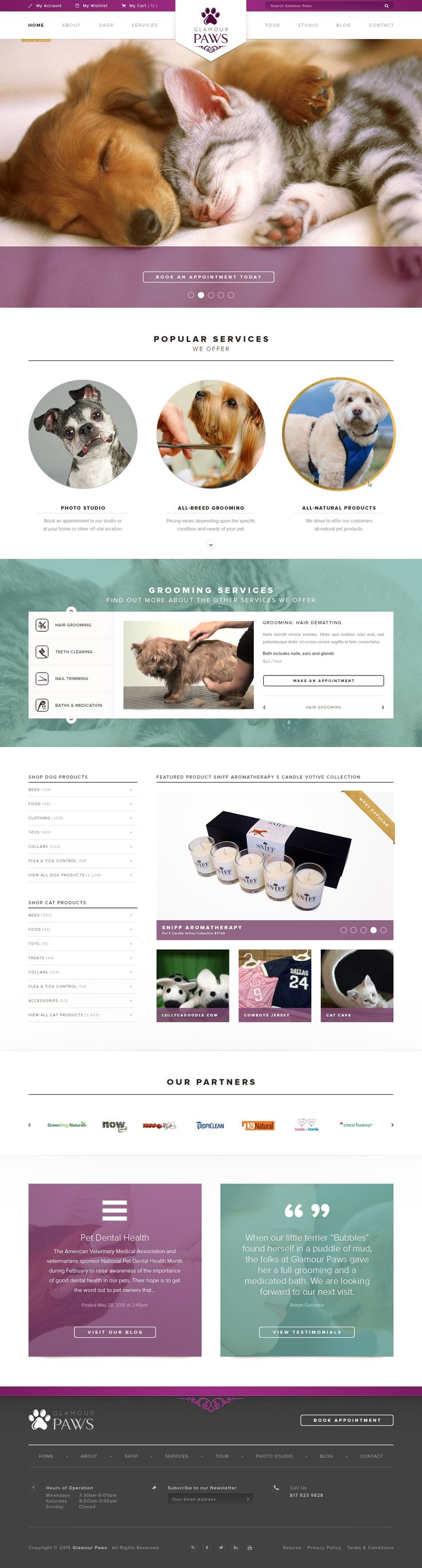 Design #64 by Money Creative | Pet Boutique & grooming Website Template update
