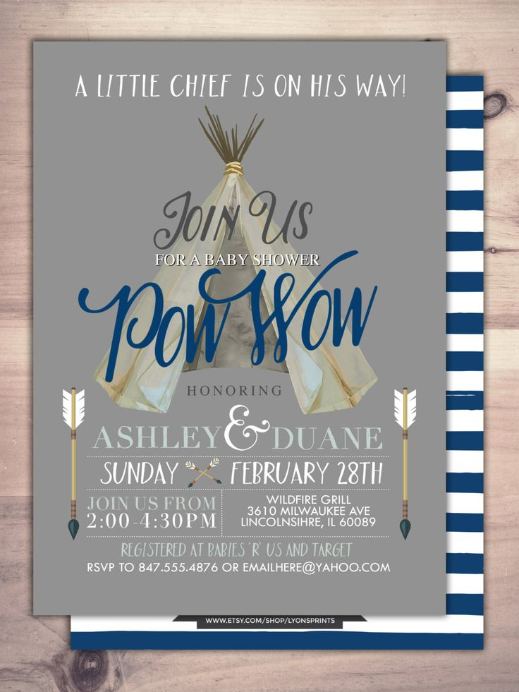 TEEPEE Baby Shower Invitation, Indian Baby shower Invite, aztec baby shower invite,boy, invitation, Aztec, arrow, pow wow, BOHO, Tribal by LyonsPrints on Etsy https://www.etsy.com/listing/263986863/teepee-baby-shower-invitation-indian
